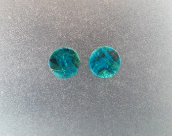 "Chrysocolla Malachite 00g, 3/8"" Ear plugs one pair"