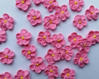 Mini pink royal icing flowers -- Ready to ship -- Edible cake decorations cupcake toppers edible (24 pieces)