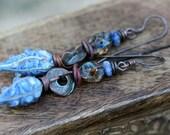 Rustic Blue * Organic Forms Series * earrings 55- artisan lampwork pods . earthy jewelry . bohemian jewelry . blue textural lampwork pods