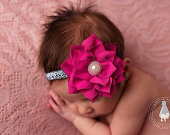 Newborn headband, baby headband, Hot pink headband, pink headband, newborn photo prop, baby photo prop, flower headband, photo prop, baby