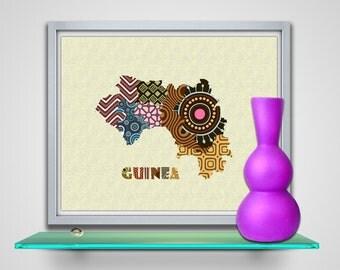Guinea Map Art Print Wall Decor, Guinea Poster African Art Print, Conakry Map West Africa, African Map Poster