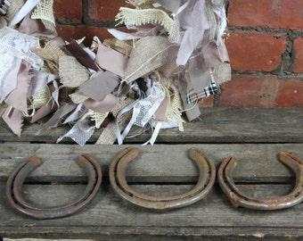 Horse Shoes, Set of Three, Wedding, Gift, Good Luck, Used, Worn Horseshoes