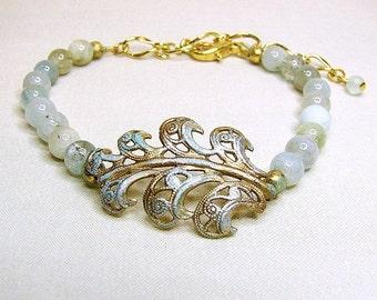 ON SALE Woodland inspired gold fern leaf bracelet Amazonite bracelet Aqua bead bracelet Semi precious stone bracelet Office jewelry Woodland