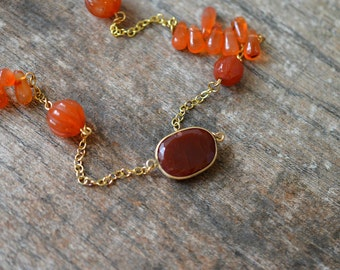 Contemporary orange carnelian necklace Gemstone chain necklace Rust semi precious stone necklace Gold chain Office business casual jewelry