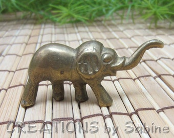Small Brass Elephant Good Luck Charm Solid Gold Tone Metal Figurine Trunk Collectible for Prosperity Symbol Vintage FREE SHIPPING (482)