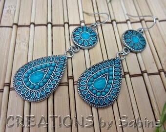 Dangling Teardrop Earrings Turquoise enamel Silver Tone Metal Jewelry Jewellery Boho Bohemian Flower Design Hook Vintage FREE SHIPPING (461)