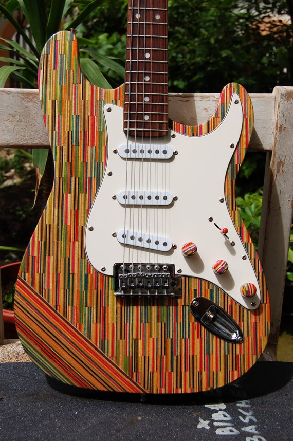 christmas sale recycled skateboard guitar fender stratocaster. Black Bedroom Furniture Sets. Home Design Ideas