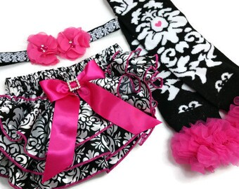 Hot Pink and Damask Outfit - Matching Hot Pink and Damask Headband, Leg Warmers, and Diaper Cover, 0 to 24mo
