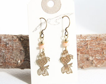 Fish Earrings with Vintage Copper and Brass Charms and Coral and Pyrite Beads