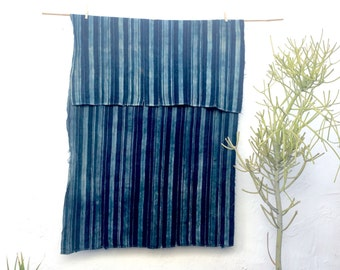 Vintage African Indigo Fabric Striped Indigo Throw African Indigo Textile Indigo Cloth Indigo Shawl Hand dyed indigo fabric Indigo #25
