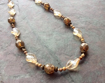 "Czech Glass Bead Necklace / One-of-a-Kind / Champagne / Antique Brass / Picasso / Twisted / Seed Beads / Jasper Stone - 21"" long - N31"
