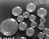 Round Clear Glass Cabochons Wholesale, Hand-Cut and Fired, Crystal Clear Colorless Glass, transparent glass covers--15 Size available
