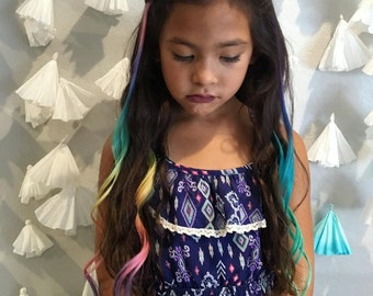 "Pastel Rainbow 16"" Clip in 100% Human Hair - Intense Extensions"