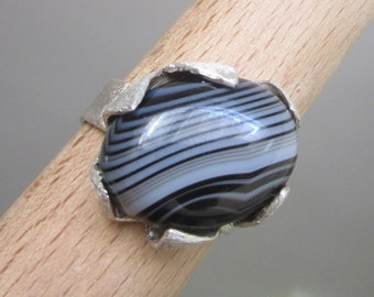 Silver Agate Botswana Ring - Black and White ring - Natural Stone Ring -  Size 7