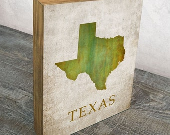 Texas Mounted Art Print -  Wood Block Wall Decor