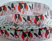 """7/8"""" Ribbon by the Yard-M2MG Boston Terrier Dogs grosgrain-pet collar supplies by Ribbon Lane Supplies on Etsy"""