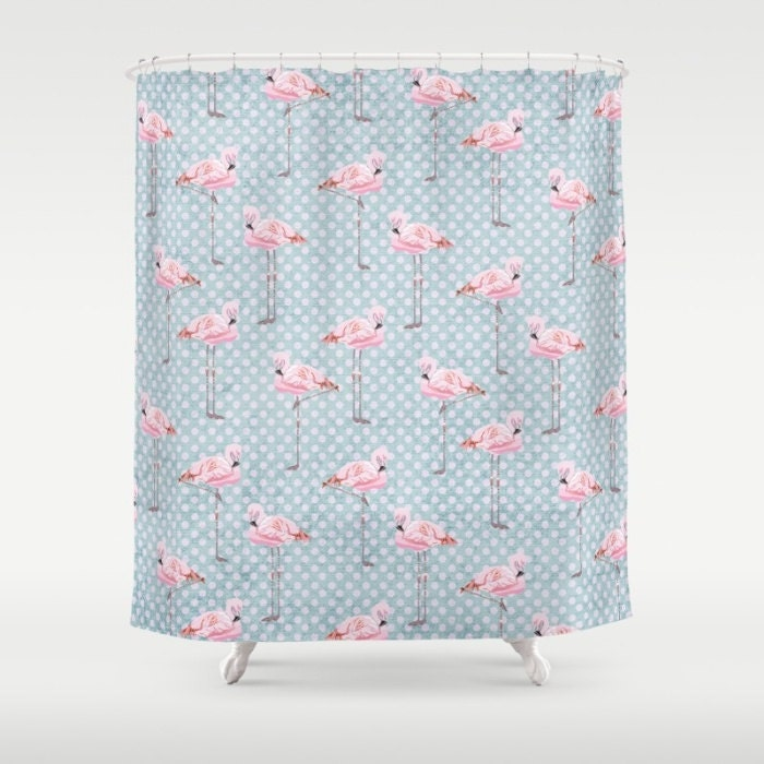 Pink Flamingo Shower Curtain Pink Amp Blue Polka Dots Custom