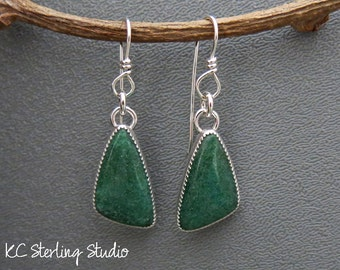 Deep forest green aventurine and sterling silver handmade dangle earrings - metalsmith silversmith