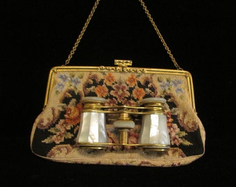 Antique Audemair Paris Opera Glasses Binoculars 1800s France Mother of Pearl w/Petit Point 1900s Czech Purse Both in Excellent Condition