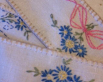 Vintage doillies pink blue green embroidered linens shabby chic beight embroidered squares and swatches of flowers by herminas cottage