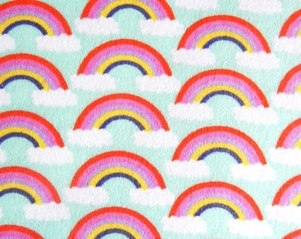 Day Care Cot Sheet - 100% Cotton Flannel - Rainbow in Light Blue