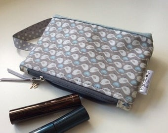"""Pale blue and grey """"two birds"""" cosmetic bag"""