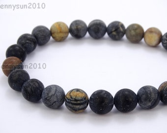 Natural Matte Matte Black Picasso Jasper Frosted Gemstones 4mm 6mm 8mm 10mm 12mm Round Loose Spacer Beads 15'' Strand Jewelry Design