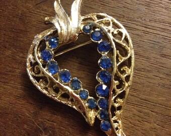 Blue Rhinestone Ornate Pin/Brooch