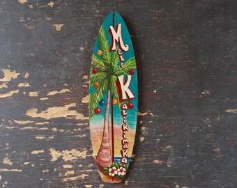 Mele Kalikimaka Mini Surfboard - beach, tropical, hawaiian wall decor
