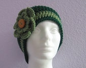 Beanie Flapper Hat Cloche Teen or Adult Green with Flower and Wood Button