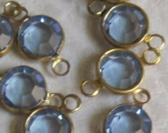 Light Sapphire 13MM Channel Crystal Round Rhinestone Brass 2 Ring Connector