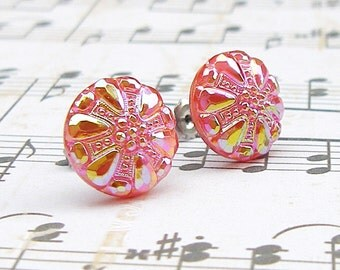 Studded in Red - vintage glass button stud earrings, upcycled earrings, repurposed jewelry