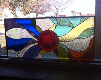 Stained glass panel .