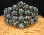 Magnificent! Vintage Signed Heavy Kingman Turquoise Sterling Silver Cluster Bracelet Southwest Tribal Navajo
