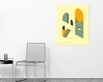 Modern, Minimal, Abstract Wall Art for the Home Decor, Ready to Hang Wood Print (EMERGENCY EXITS 12)