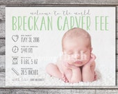 Baby Girl or Boy Birth Announcement Photo Card, Whimisical Sketch, Printable and Customizable #157