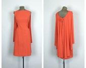 60s Fitted Orange Cape Cocktail Dress • 1960s Sleeveless Mod Sheath Dress • Retro Wiggle Dress • Large