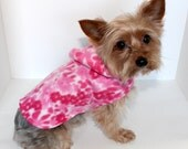 Pink Dog Hoodie, XXS XS S M Lg Pink Floral Fleece Dogs Jacket, Designer Fashion Dog Clothing