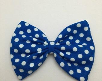 Blue & White Polka Dot Bow
