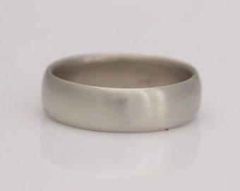 White gold wedding band, size 8 1/4 gold band, also custom sizes 8 thru 13, # 683.