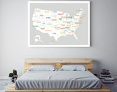 USA Map, Usa Travel Map, United States of America Map, Travel Decor, Travel Art, Usa Print, Map of Usa, Wedding Gift, Baby Shower, Grey Map