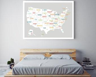 USA Map Poster, Grey USA Map, United States Map, Travel Map, Wall Art for Kids, Childrens Room Decor, Nursery Art, Travel Decor, Light Grey