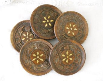 Carved Wood Coasters With Inlay