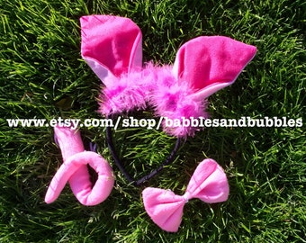 Comfortable Pink Piglet or Pig Ears Headband Halloween Costume - Pig Costume - Piglet Costume - Piglet Hat - Elf Costume - NEXT DAY SHIPPING