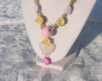 ROSE QUARTZ gemstone BUTTERFLY hemp necklace 16 to 30 inches