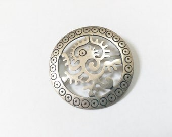 Vintage Sterling Silver JS Pin Brooch - Taxco Mexico 925 - Pendant Circle Abstract Tribal