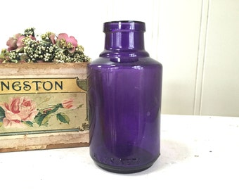 Vintage PURPLE GLASS BOTTLE - Amethyst Bottle - Colgate & Co Perfumers New York -