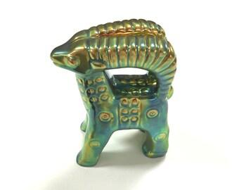 VINTAGE ZSOLNAY PECS - Ram - Hungary - Iridescent Green Eosin Lustre - Figural - Mid Century Modern