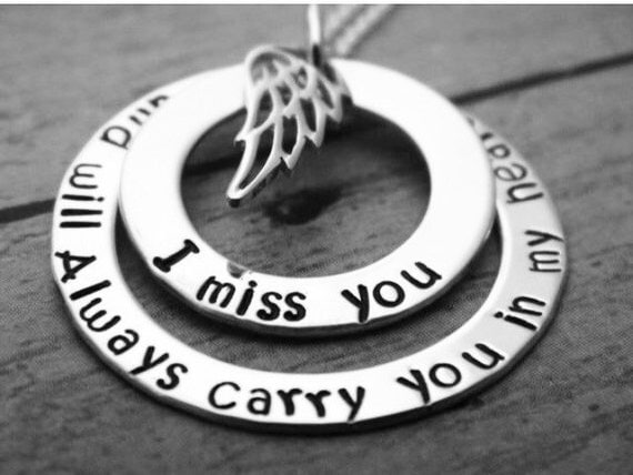 In Memory of Necklace, Personalized Memorial Necklace, Sterling Silver, I Miss You, Custom Made, Angel,  Keepsake, Remembrance Jewelry, Name