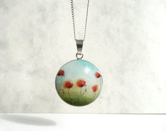 """Hand Painted Pendant Poppies Silver Bezel, Sterling Silver Wood Pendant Poppy Necklace Poppies Bezel 0,8"""", Tiny Painting by Artdora"""